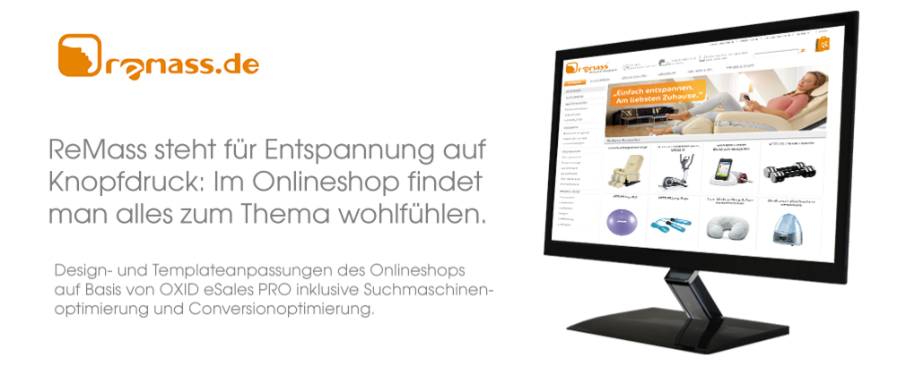 Referenz Design und Templateanpassung ReMass Onlineshop
